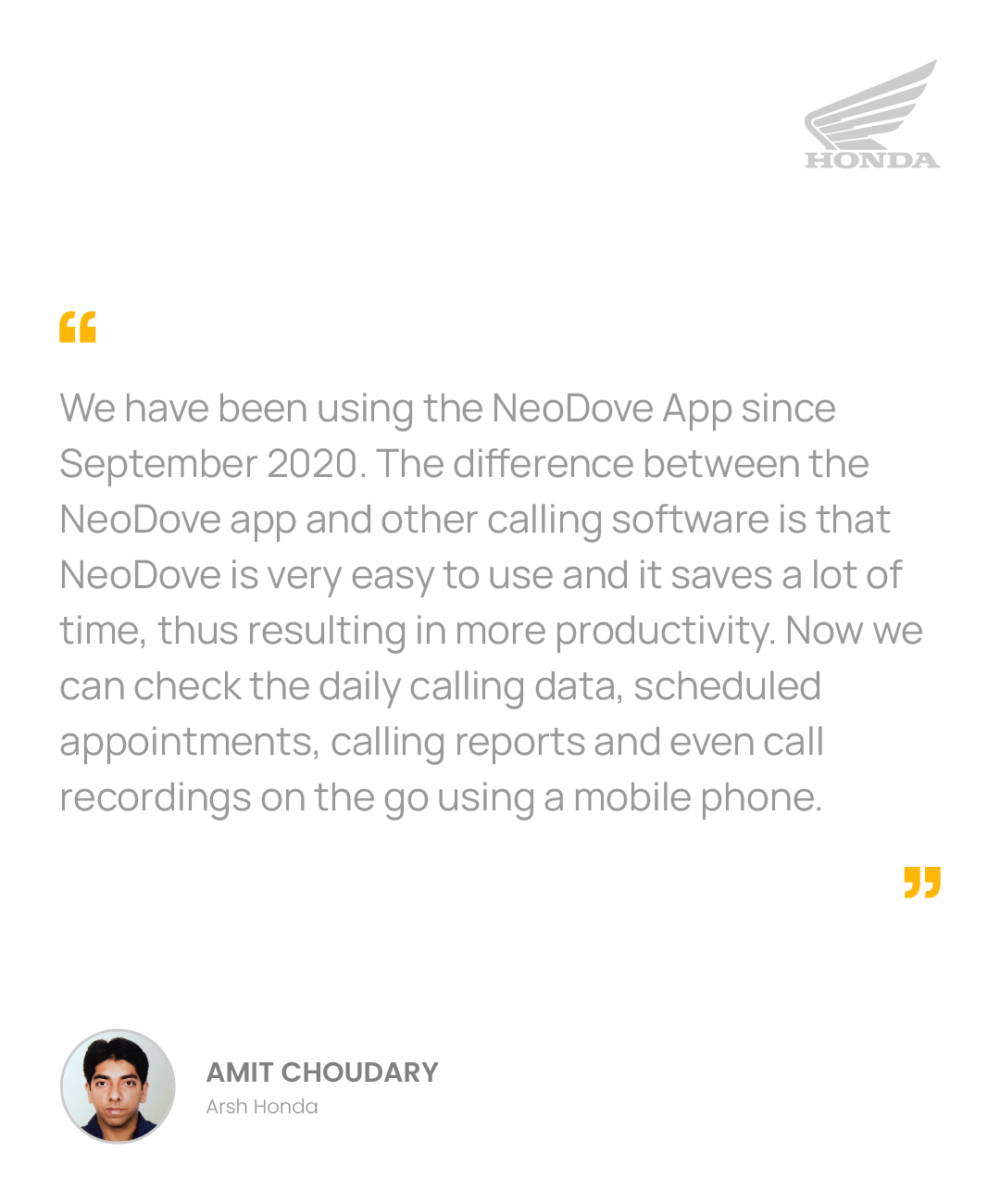 NeoDove Testimonial_Phone_Honda_02